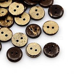 Boutons de noix de coco, 2-trou, plat rond, coconutbrown, 11x3mm, Trou: 1mm(X-COCO-I002-093)