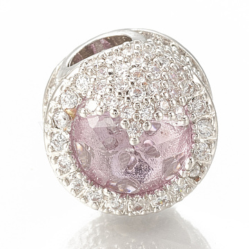 Brass Micro Pave Cubic Zirconia European Beads, with Glass Beads, Large Hole Beads, Column, Platinum, Pink, 16x12mm, Hole: 4.5mm(KK-Q746-022C)