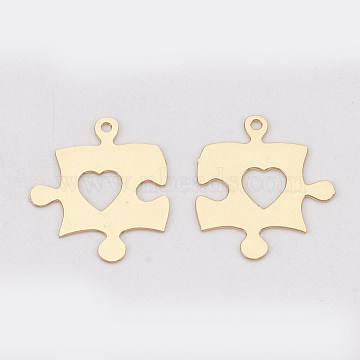 Brass Pendants, Etched Metal Embellishments, Long-Lasting Plated, Puzzle with Heart, Light Gold, 15x13x0.3mm, Hole: 1mm(X-KKC-S001-030KC)