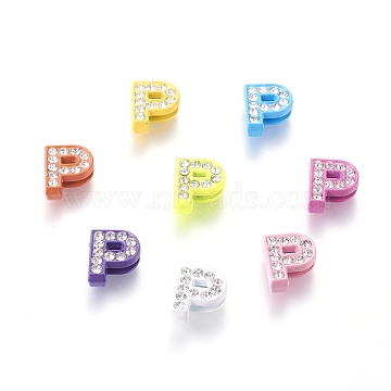 Alloy Letter Slide Beads, Rhinestone Letter Charms, Letter P for DIY Jewelry Bracelet, Mixed Color, about 10mm wide, 12mm long, 4.5mm thick, hole: 7x1mm(ZP14-P)