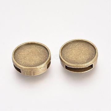 Antique Bronze Flat Round Alloy Slide Charms