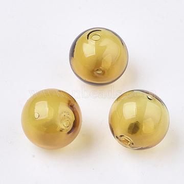 Handmade Blown Glass Beads, Round, Gold, 16x16mm, Hole: 1~2mm(BLOW-T001-32B-02)