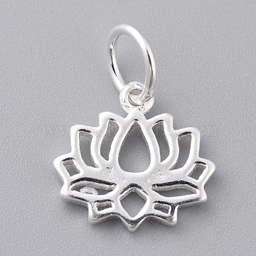 925 Sterling Silver Pendants, Lotus, Carved with 925, Silver, 11x11.5x1.5mm, Hole: 4mm(X-STER-K170-01S)