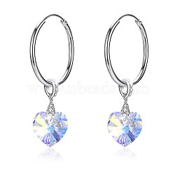 925 Sterling Silver Hoop Earrings, with Austrian Crystal, Heart, Platinum, 001AB_Crystal AB, 38x10mm(EJEW-BB30661-B)