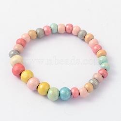 Cadeau du jour teints en bois rond perles des enfants des enfants étirer bracelets, colorées, 45mm(BJEW-JB02014)