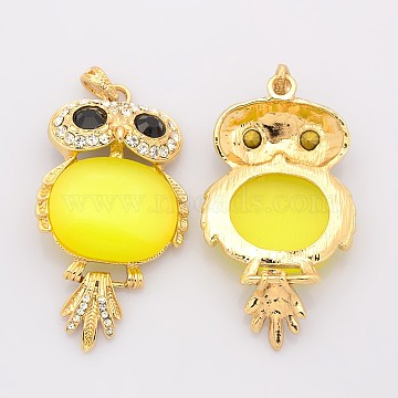 Cat Eye Owl Big Pendants, with Rhinestones and Golden Tone Brass Findings, Yellow, 66x36x9mm, Hole: 7x4mm(CE-N001-01)