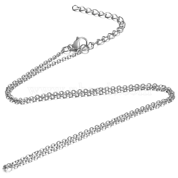 304 Stainless Steel Cable Chain Necklace, with Lobster Claw Clasps, Stainless Steel Color, 17.9inches(45.5cm); 1.6mm(X-STAS-T040-PJ204-45)