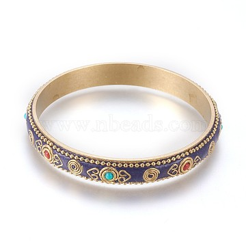 Handmade Indonesia Style Bangles, with Brass Findings, Raw(Unplated), 2-1/2 inches(6.5cm)(BJEW-K211-A)