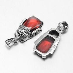 mouche style thai en argent sterling 925 pendentifs strass argent, avec du corindon rouge, argent antique, 20x11x5 mm, trou: 4x6 mm(STER-F011-201)