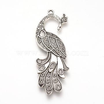 Tibetan Style Alloy Big Pendant Enamel Settings, Peacock, Cadmium Free & Lead Free, Antique Silver, 61x21x4mm, Hole: 2mm; about 150pcs/1000g(TIBEP-T002-137AS-RS)