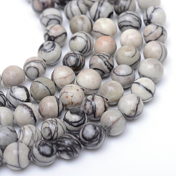 Round Natural Black Silk Stone/Netstone Bead Strands, 6mm, Hole: 1mm; about 65pcs/strand, 15.7 inches(X-G-R345-6mm-20)
