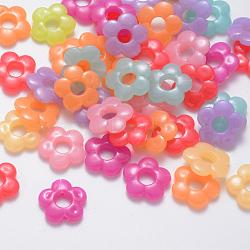 Cadres de perles acryliques de gelée d'imitation, fleur, couleur mixte, 19x20x4.5mm, Trou: 1.5mm(X-JACR-Q056-06)