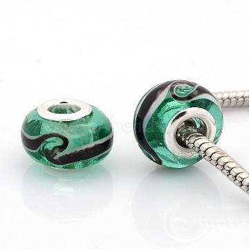 Handmade Lampwork European Large Hole Rondelle Beads, with Silver Plated Brass Double Cores, Medium Sea Green, 14x9mm, Hole: 5mm(LPDL-M011-01)