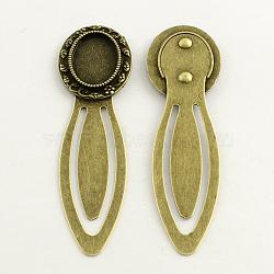 Fer supports cabochons signet, alliage avec plateau ovale, sans plomb & sans nickel & sans cadmium , bronze antique, 73x21x3 mm; plateau: 13x18 mm(PALLOY-S033-30AB-NR)