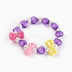 """Bracelets extensibles en perles acryliques pour enfants, bowknot & coeur & rond, pourpre, 1-5/8"""" (4.3 cm)(BJEW-JB03885-03)"""
