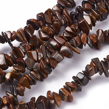 Natural Yellow Tiger Iron Beads Strands, Chip, 4~10x3~6mm, Hole: 0.5mm; 35.4 inches(90cm)(G-G782-32)