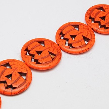 Synthetic Turquoise Beads Strands, Dyed, Halloween Pumpkin Jack-O'-Lantern Jack o Lantern, Orange Red, 15x3.5mm, Hole: 1mm; about 27pcs/strand, 15.35 inches(X-TURQ-G115-15mm-08)