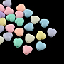Opaque Acrylic Beads, Heart, Mixed Color, 7x7x5mm, Hole: 2mm; about 350pcs/50g