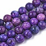 Natural American Turquoise Beads Strands, Round, Indigo, 8mm, Hole: 1mm; about 45~46pcs/strand, 15-1/8 inches(38.5cm)