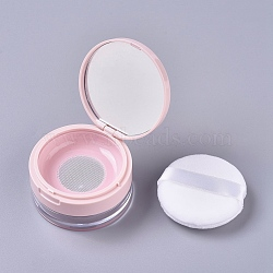 Reusable Plastic Loose Powder Bottles, Empty Bottles, DIY Makeup Powder Case, with Sponge Powder Puff, Mirror and Sifter, Pink, 6.95x3.8cm; Capacity: 20g(MRMJ-WH0056-34A)