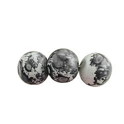 """Cuisson perles de verre rondes peintes, teint, grises , 6mm, trou: 1.3~1.6mm; environ 133 pcs/chapelet, 31.4""""(X-DGLA-S084-6mm-59)"""