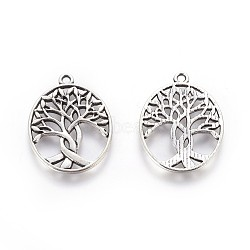 Tibetan Style Zinc Alloy Pendants, Oval with Tree of Life, Antique Silver, 31.5x23.5x1.5mm, Hole: 1.5mm