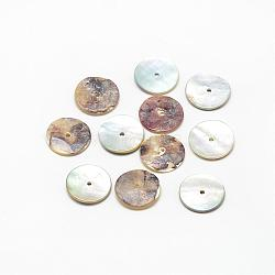 Natural Akoya Shell Bead Spacers, Mother of Pearl Shell Beads, Disc/Flat Round, Heishi Beads, Camel, 9~10x1~1.5mm, Hole: 1.5mm(SSHEL-R041-89)