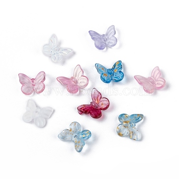 Transparent Glass Charms, Mixed Style, Butterfly, Mixed Color, 9.5x11x3mm, Hole: 0.8mm(X-GLAA-T016-23)