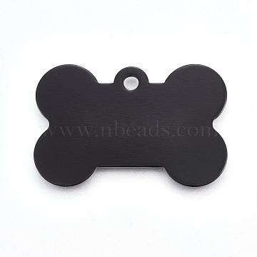 Pendentifs d'animal de compagnie en aluminium, estampillage d'une étiquette vierge, os, noir, 25x38x1mm, Trou: 2.5mm(ALUM-WH0006-01)