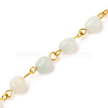 Handmade Natural Amazonite Beaded Chians, with Golden Tone Iron Eye Pin, Nuggets, 5~10x5~8x3.5~7mm, about 39.37 inches(1m)/strand(AJEW-JB00794-04)