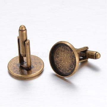 Brass Cufflinks, Cuff Button, with Tray, Antique Bronze, 18x18mm; Tray: 16mm(KK-E464-AB-NF)