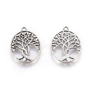 Tibetan Style Zinc Alloy Pendants, Oval with Tree of Life, Antique Silver, 31.5x23.5x1.5mm, Hole: 1.5mm(X-PALLOY-P178-03AS)