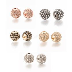 Perle d'alliage, avec strass, rond, couleur mixte, 9.5x9.5mm, Trou: 1.5mm(PALLOY-S066-01-M)