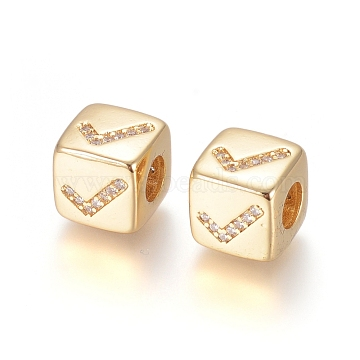 Brass Micro Pave Cubic Zirconia European Beads, Large Hole Beads, Long-Lasting Plated, Cube with Sign Pattern, Clear, Golden, 9x9x9.5mm, Hole: 4.5mm(ZIRC-G162-14G-10)