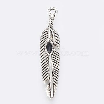 Antique Silver Black Leaf Alloy Pendants