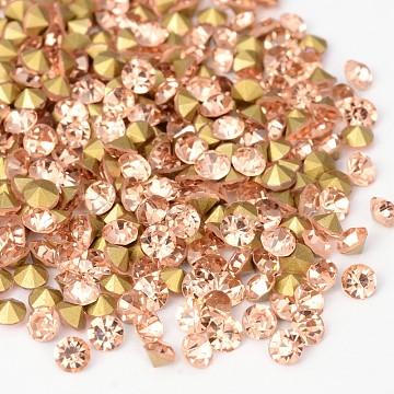 Back Plated Grade A Diamond Glass Pointed Rhinestone, Light Peach, 1.9~2mm; about 1440pcs/bag(RGLA-SS6-023)
