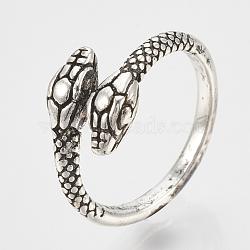 Регулируемые кольца перста сплава, змея, античное серебро, Размер 7, 17 мм(RJEW-N027-11)
