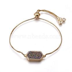 """Bracelets bolo quartz naturel druzy, Bracelets coulissants, avec les accessoires en laiton, rectangle, or, 9-1/2"""" (24 cm)(BJEW-P246-01G)"""