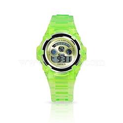 OHSEN бренда девушки силиконовые спортивные часы, высококачественной нержавеющей стали цифровые часы, травяные, 220x17 мм; голова часов : 42x40x14 мм; лицо часов : 32x32 мм(WACH-N002-24)