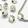 Alloy European Beads, Enamel Settings, Large Hole Beads, Dog Paw Prints, Antique Silver, 11.5x10.5x7.5mm, Hole: 5mm