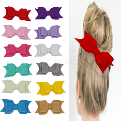 Non-Woven Fabrics Bowknot Alligator Hair Clips, with Iron Alligator Clips, Mixed Color, 95mm(OHAR-Q093-M)
