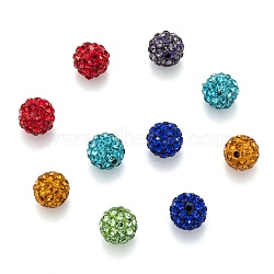 Mixed Color Grade A Round Pave Disco Ball Beads, Polymer Clay Rhinestone Beads, PP12(1.8~1.9mm); 8mm, Hole: 1mm(X-RB-H258-8MM-M)