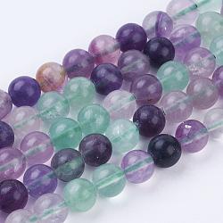 Chapelets de perles en fluorite naturel, rond, 8~8.5mm, trou: 1mm; environ 48 pcs/chapelet, 15.1'' (38.5 cm)(G-P318-05-8mm)