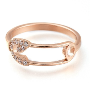 304 Stainless Steel Finger Rings, with Clear Cubic Zirconia, Wide Band Rings, Safety Pin Shape, Rose Gold, US Size 7, Inner Diameter: 17mm(RJEW-F110-05RG-7)