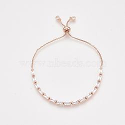 bracelets réglables en laiton à zircon cubique, bracelets bolo, avec des chaînes de boîte, or rose, 9-1 / 2 (24 cm)(BJEW-S142-01A-RG)