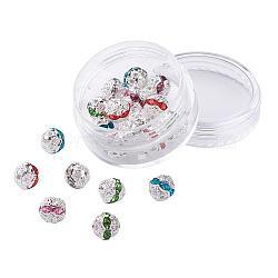 Perles en laiton de strass, Grade a, de couleur métal argent, rond, couleur mixte, 8mm, trou: 1 mm; 20 / boîte(RB-JP0001-8mm-S)
