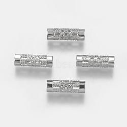 Perles de tube en 304 acier inoxydable, couleur inoxydable, 12x4mm, Trou: 3mm(STAS-F195-030P)