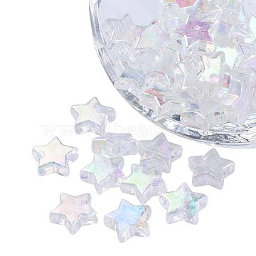 Eco-Friendly Transparent Acrylic Beads, Star, AB Color, Clear AB, 10x4mm, Hole: 1.5mm, about 100pcs/bag(TACR-YW0001-01A)