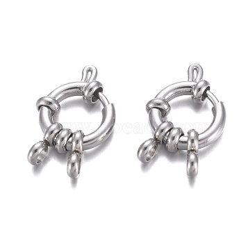 304 Stainless Steel Spring Ring Clasps, Ring, Stainless Steel Color, 12.5x4mm, Hole: 2.5mm(STAS-G190-17P)