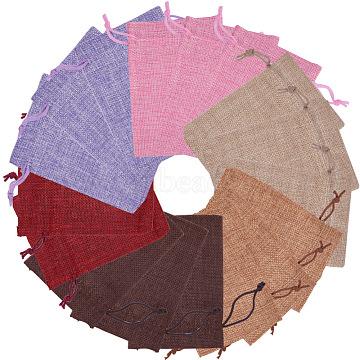 Pochettes en toile de jute, couleur mixte, 13.5x9.5 cm, 30 pièces / kit(ABAG-PH0002-25)